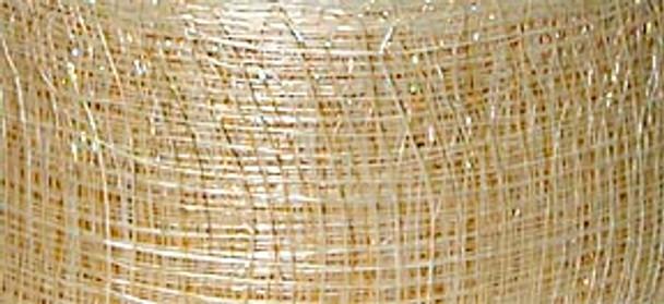 NATURAL w/ GOLD 2 inch Sinamay Mesh Ribbon 50 yds