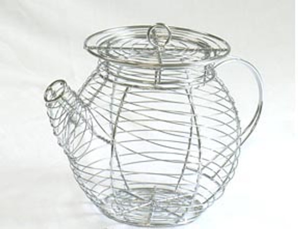 Chrome Wire TEA POT Shape Wire Basket with Removable Lid