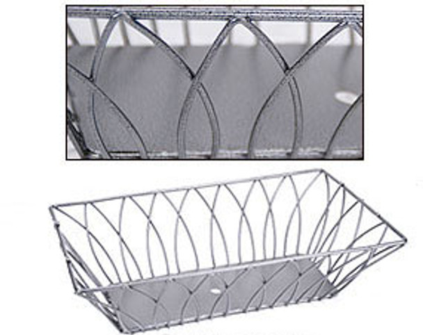 METAL RECTANGLE TRAY Pewter Wire Basket