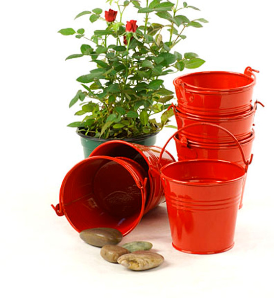 4 inch Round Miniature Metal Tin Favor Pail - Red