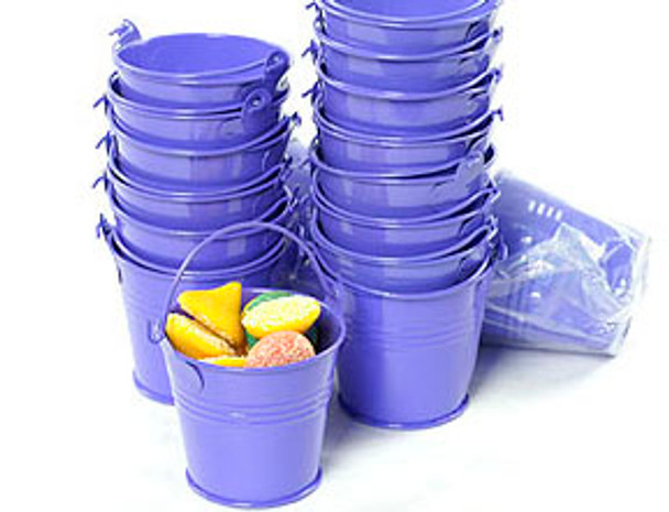 2.5 inch Round Minature Metal Tin Pails - Purple - Quantity 25