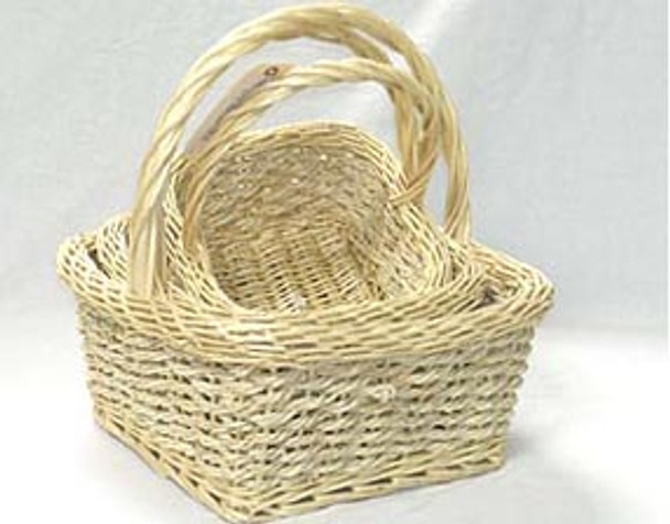 LIGHT WILLOW SHOP BASKET with Rope - Set of 3