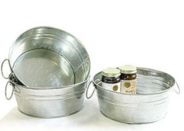 10 inch Round Galvanized Tin Tub or Metal Bowl