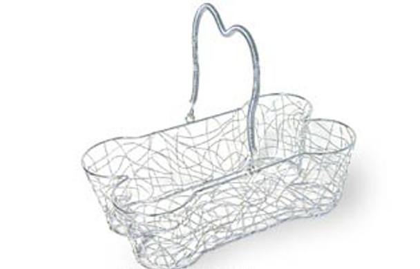 Silver Wire Large DOG Bone Shape Basket Folding Handle