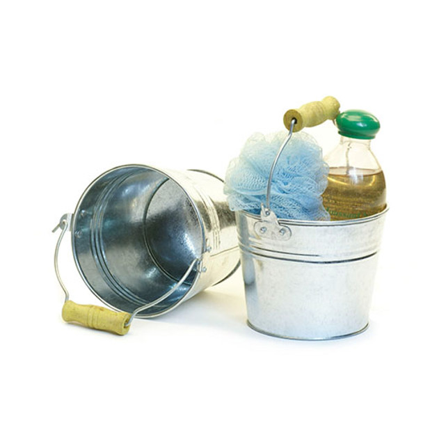 5 inch Round Galvanized Miniature Pail with Wood Handle