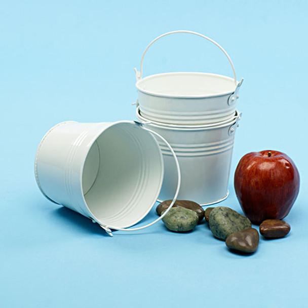 5 inch Round Galvanized Miniature Pail - White