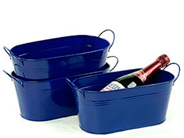 12 inch Oval Metal Tin Tub - Royal Blue