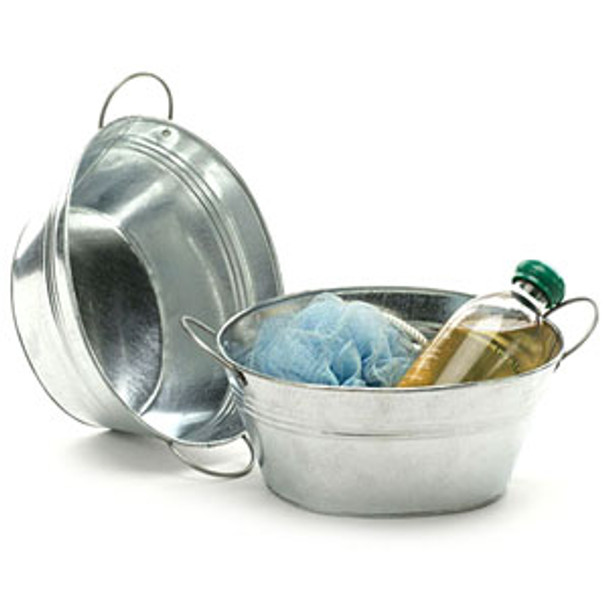 8 inch Oval Galvanized Bowl or Tub