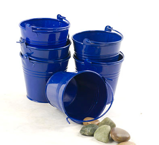 4 inch Round Miniature Metal Tin Favor Pail - Royal Blue