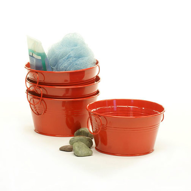 6 inch Round Metal Tin Tub or Bowl - Red