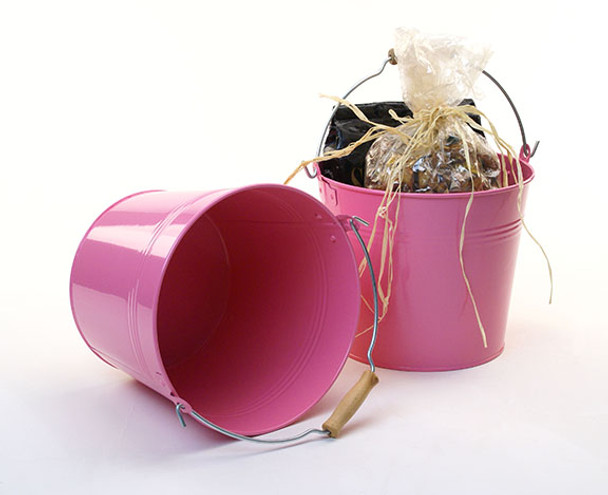8.5 inch Round Metal Pail with Wood Handle - Pink