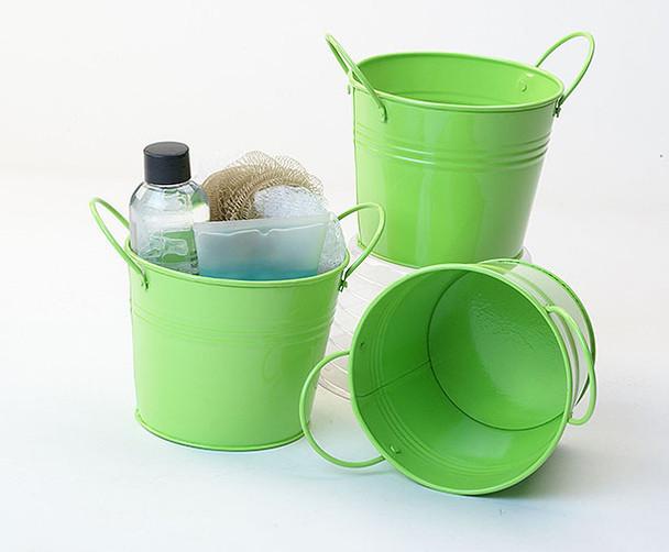 5 inch Round Miniature Metal Tin Pot - Lime Green