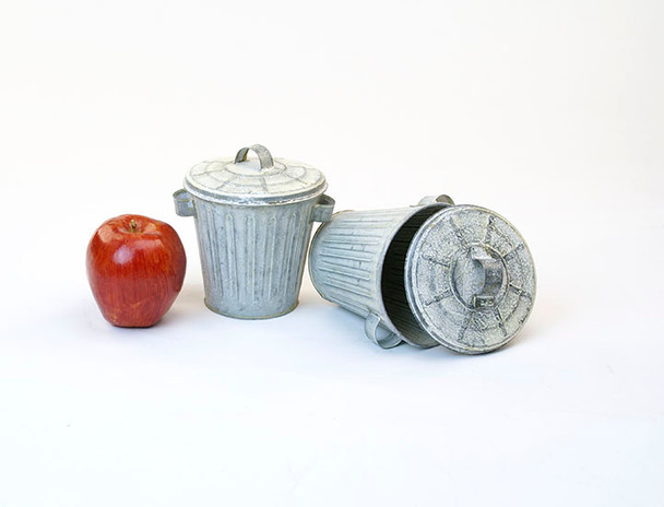 4 inch Galvanized Miniature Trash Can with Lid - Vintage Finish