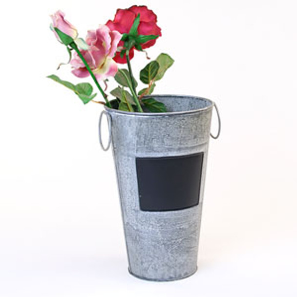 11 inch Tall Metal French Bucket with Chalkboard - Vintage Finish