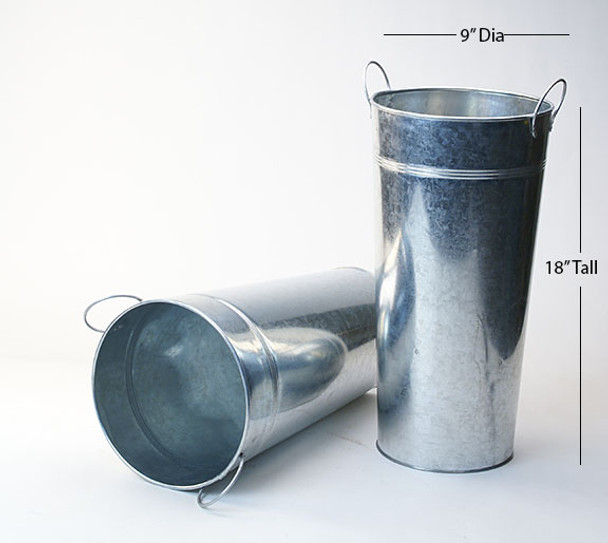 18 inch Tall Galvanized French Bucket with Handles