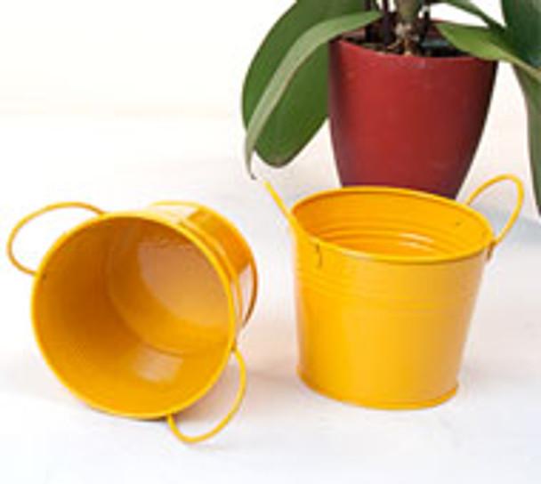 5 inch Round Miniature Metal Tin Pot - Golden Yellow