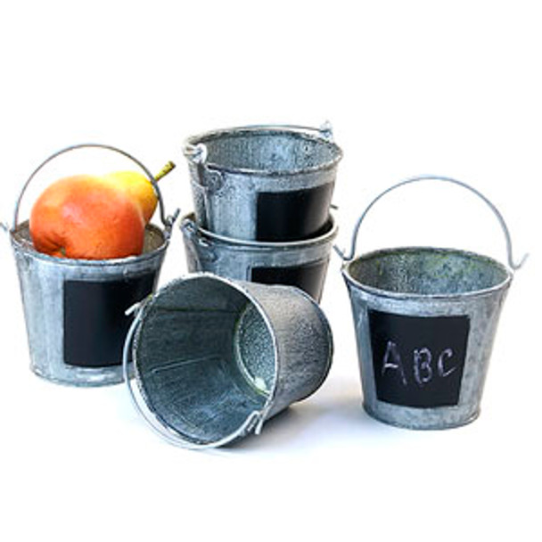 4 inch Round Miniature Metal Tin Favor Pail - Vintage Finish with Chalkboard