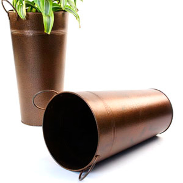 15 inch Tall Metal French Bucket - Brown Powder Coat