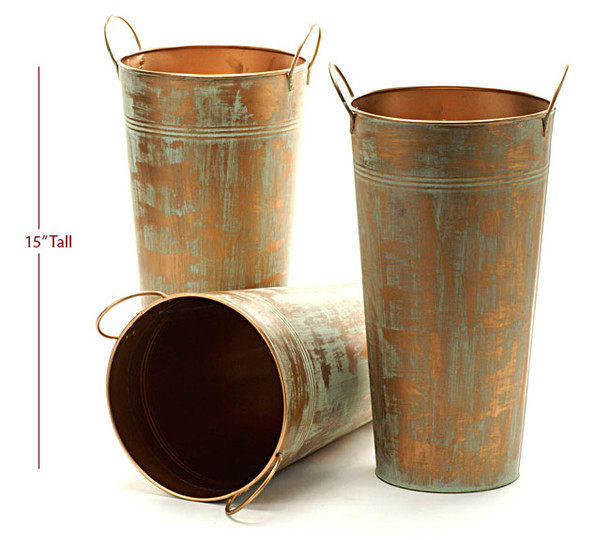 15 inch Tall Metal French Bucket - Verdigris Finish