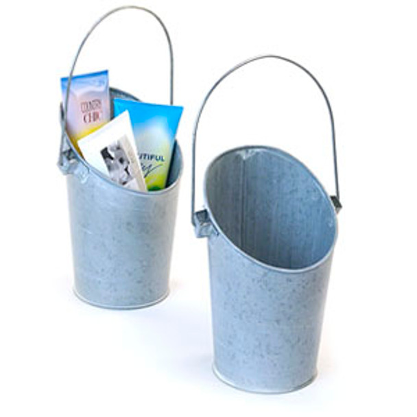 8.5 inch Wall Pocket French Bucket or Pail - Washed Galvanized