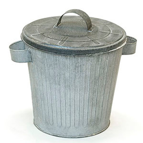 8 inch Galvanized Trash Can with Lid - Vintage Finish