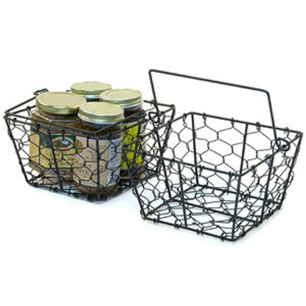 6.5 inch Square Chicken Wire Basket with Handle - Black