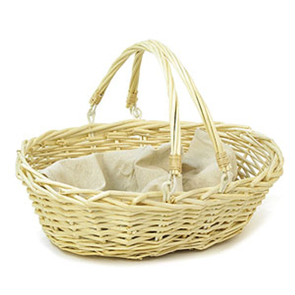 Oval Willow 15 Inch Shop Basket - Double Folding Handle