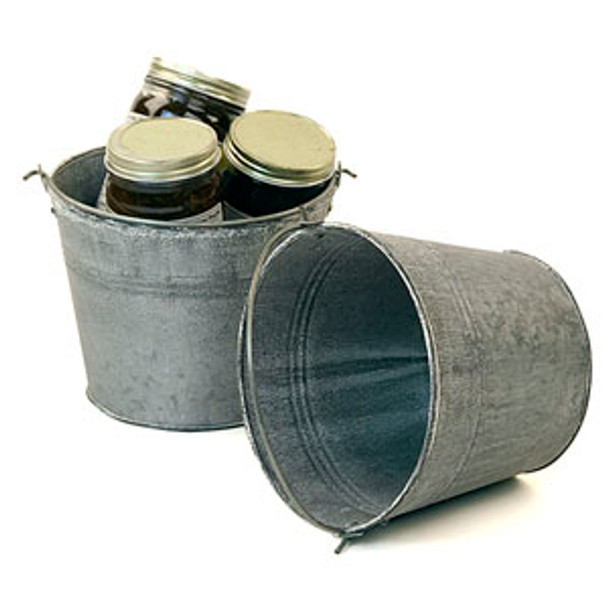 6 inch Round Galvanized Tin Pail - Vintage Finish