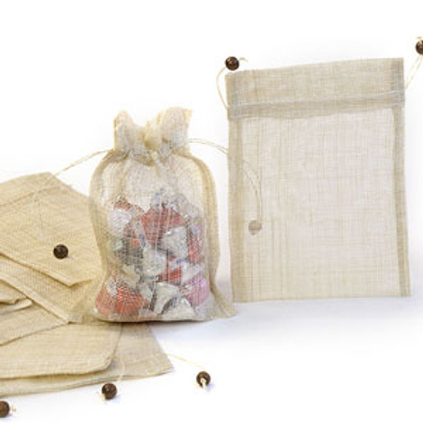 Sinamay Pouch with Draw String and Wooden Beads - Quantity 10