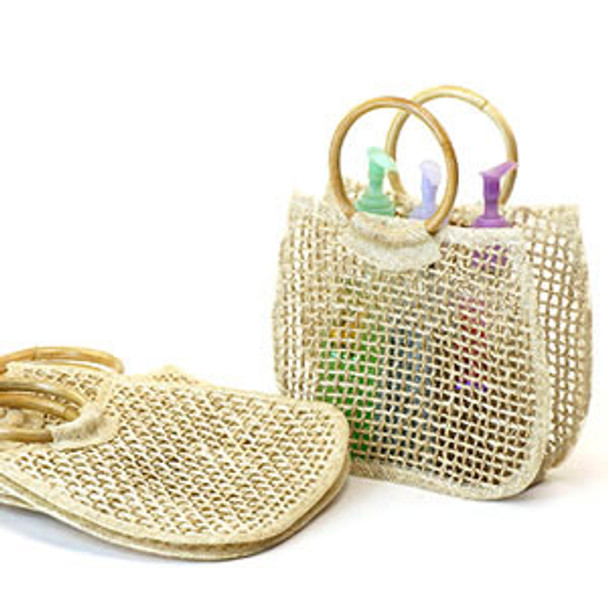 Sinamay and Twine Tote with Rattan rings