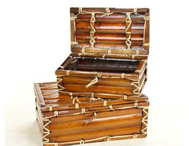 Stained Bambo Slats Box Set of 2