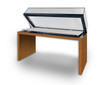 Archival Wood Panel-Leg Table Case Gas Spring Opening