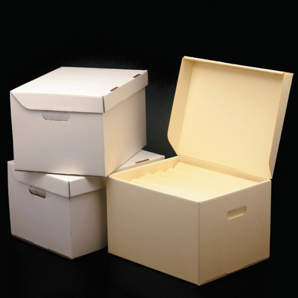 Record Storage Cartons with Attached Lids