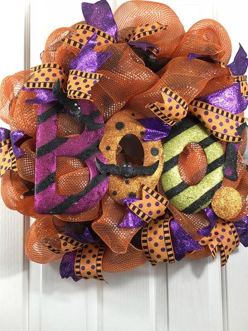 Halloween wreath, boo wreath, orange wreath