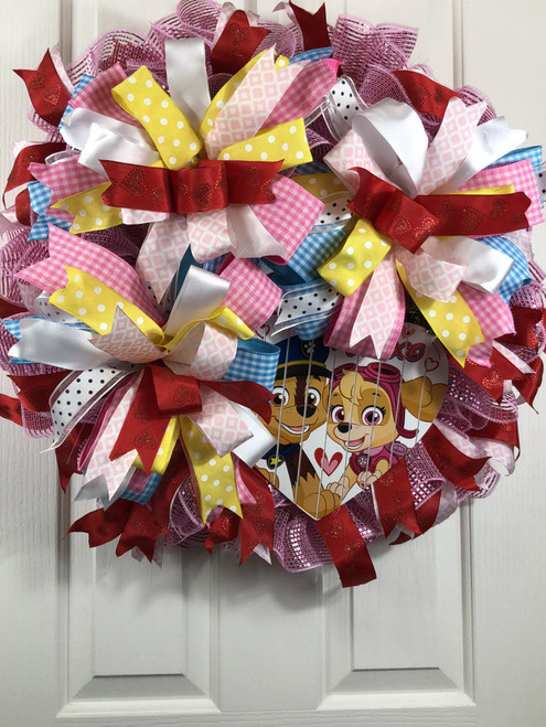Valentine wreath, Handmade wreath, pastel wreath, dog wreath, heart wreath