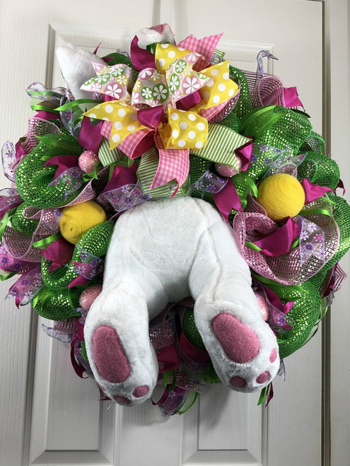 Easter wreath, White bunny wreath, butt wreath, handmade wreath