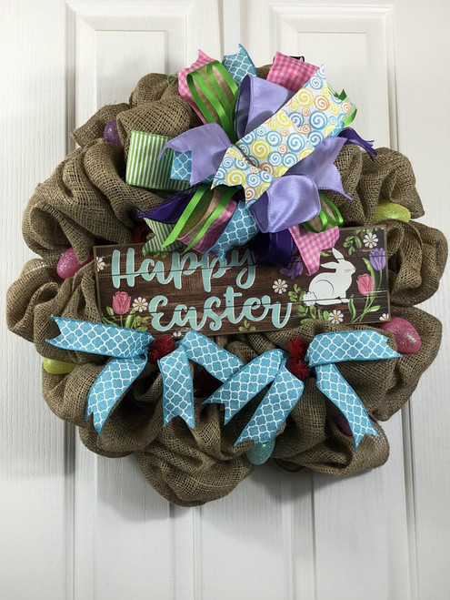 Easter wreath, Handmade wreath, burlap wreath, easter sign wreath