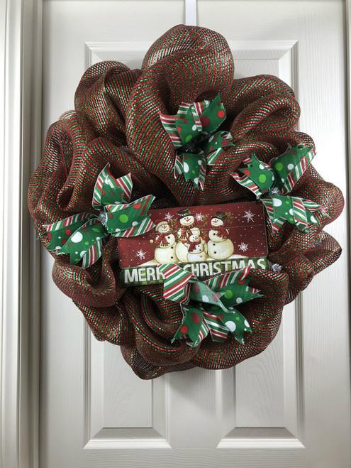 Christmas wreath, snowman wreath, mesh wreath
