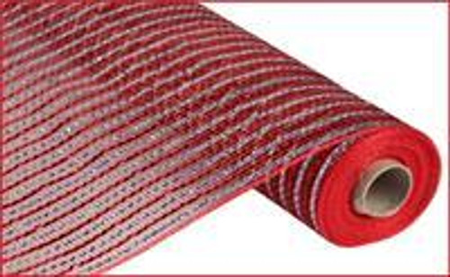 """Red/silver Foil Mesh - 21"""""""