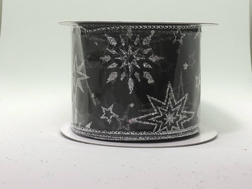 BLACK SHEER SILVER SPARKLE STARS