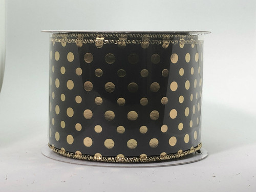 BLACK, GOLD DOTS