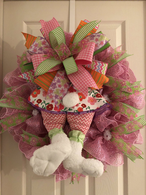 Girl Bunny wreath-pink