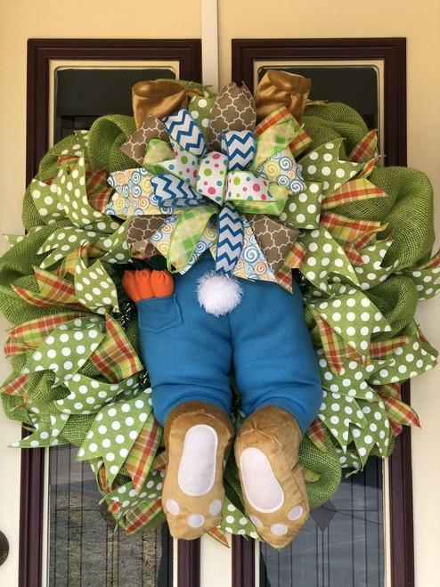 Green Burlap Boy Bunny Butt Wreath