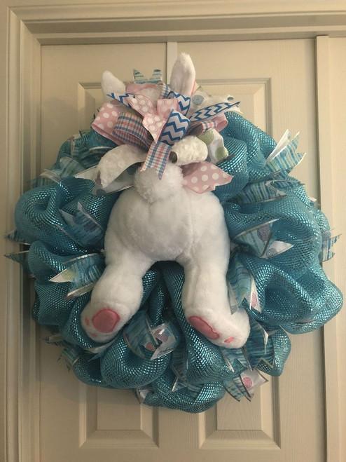 White Bunny Butt-Blue