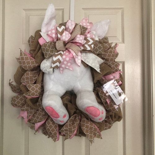 Burlap  white bunny wreath