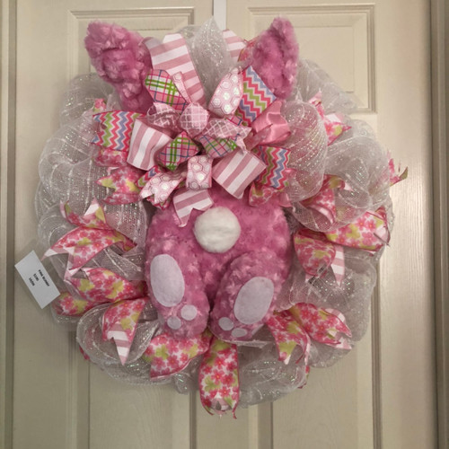 Fluffy pink bunny bottom wreath
