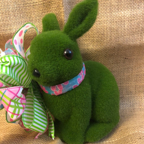SMALL FLOCKED BUNNY-PINK FLOWERS