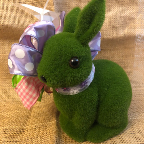 SMALL FLOCKED BUNNY-PINK FLOWER