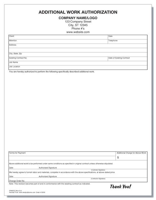 Additional Work Authorization Form
