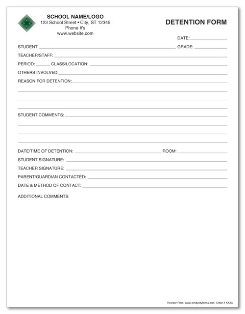 "Detention Form - 8.5"" x 11"""